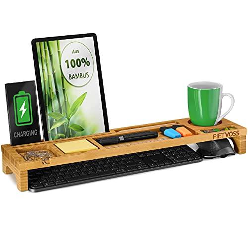 PIETVOSS Schreibtisch Tastatur Organizer aus Bambus Holz I...
