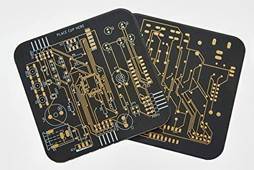 Untersetzer in Platinen Design 2er Set Schwarz goldene...