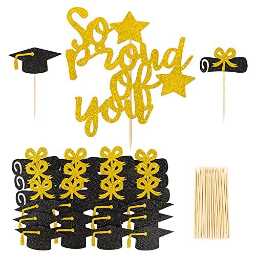 25 Stück Graduation kuchen topper Abschluss Tortenaufsatz...