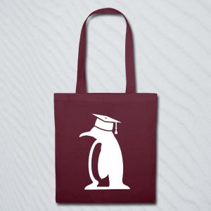 Stoffbeutel mit einem Pinguin, der einen Doktorhut trägt.