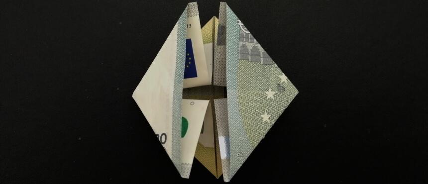 Geldschein falten Origami