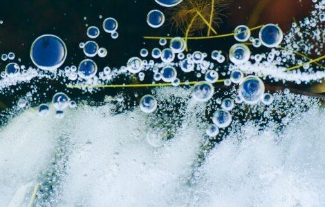 Luftblasen in einer Flüssigkeit.