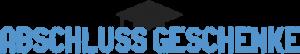 Abschluss Geschenk Logo. Schriftzug Abschlussgeschenke mit einem Doktorhut.