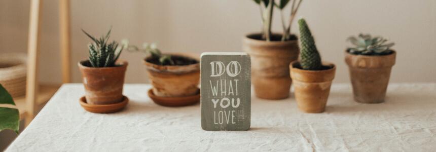 """Motivationssprüche - """"Do what you love""""-Schild mit Kakteen im Hintergrund"""